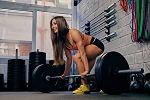 Обои Фитнес Спортзале Штанга Тренировка спортивная Девушки