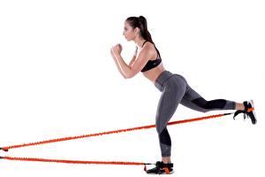 Картинки Фитнес Ног Ягодицы Тренируется Белом фоне спортивные Девушки