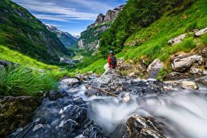 Фотография Франция Горы Камень Альпы Ручеек Долина Haute-Savoie, Sixt-Fer-a-Cheval Природа