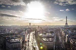 Обои для рабочего стола Франция Небо Париже Горизонт Сверху Города