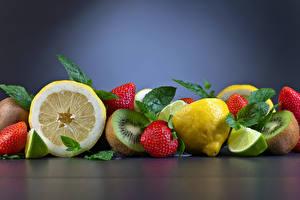 Обои Фрукты Клубника Лимоны Киви Пища