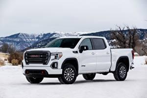 Фотографии Дженерал моторс Снега Пикап кузов Белые Металлик Sierra, AT4, 2019 машины