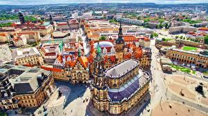 Обои Германия Дрезден Церковь Здания Улице Сверху