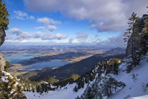 Картинки Германия Озеро Горы Бавария Снег Горизонт Lake Forggensee