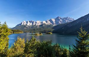 Обои для рабочего стола Германия Гора Озеро Бавария Альпы Деревья Eibsee, Garmisch-Partenkirchen Природа