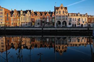 Фотографии Гент Бельгия Водный канал Отражении Города