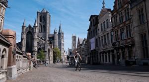 Картинка Гент Бельгия Здания Улице Велосипеды