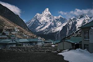 Картинка Дома Горы Зимние Село Nepal Himalaya Khumjung Города