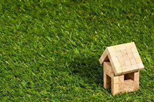 Картинка Здания Игрушка Из дерева Траве Газоне