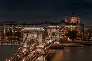 Фото Венгрия Будапешт Здания Реки Мост Ночь Уличные фонари Chain Bridge