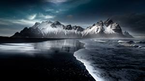 Обои Исландия Горы Снега Пляж Hofn, Austurland