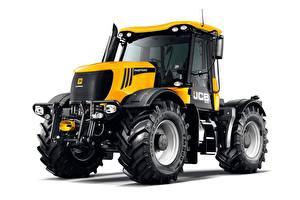 Картинки Трактор Желтая Белом фоне JCB Fastrac 3230
