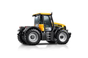 Фотографии Тракторы Желтая Сбоку Белом фоне JCB Fastrac 3230 Xtra