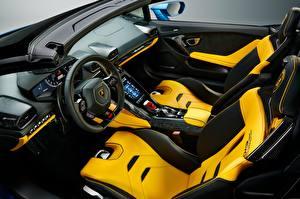 Картинки Lamborghini Салоны Дизайн Рулевое колесо Huracan EVO, RWD, 2020, Spyder Автомобили