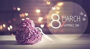 Обои для рабочего стола Международный женский день Сердечко Слова Английская