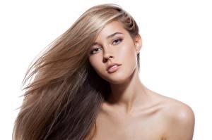 Картинка Фотомодель Красивая Мейкап Волос Смотрит Белом фоне девушка