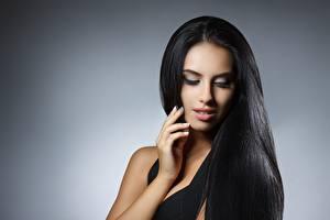 Фотографии Фотомодель Волосы Макияж Брюнетки Красивые Девушки