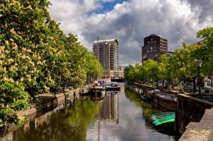 Обои Нидерланды Лодки Дома Водный канал Облако Hague Города