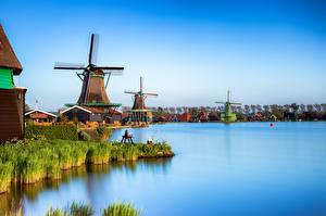 Обои Нидерланды Водный канал Мельница Zaanse Schans, Zaandam Природа