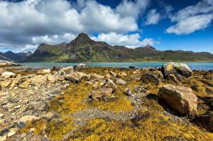 Фотография Норвегия Лофотенские острова Горы Камень Облако Природа