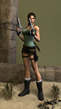 Фотография Tomb Raider Пистолеты Tomb Raider Legend Лара Крофт Поза Игры 3D_Графика Девушки