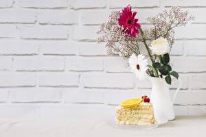 Фотография Роза Гербера Пирожное Лимоны Стенка Вазе Ветвь Шаблон поздравительной открытки цветок Еда