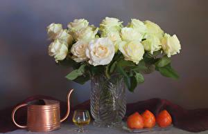 Картинки Розы Вино Хурма Вазы Бокал Цветы Еда