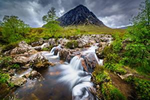 Фотография Шотландия Горы Камень Реки Деревья Glencoe, Buachaille Etive Mòr Природа