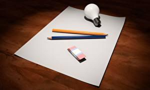 Картинка Лист бумаги Лампа накаливания Карандаша 3D Графика