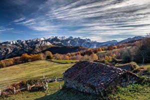 Фото Испания Гора Небо Здания Облачно Краши Asturias, Ponga Природа
