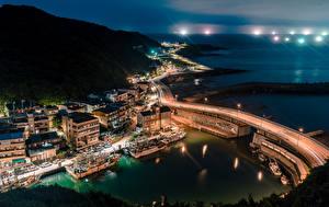 Фотографии Тайвань Здания Мост Пристань Речные суда Ночные Залива Keelung Города