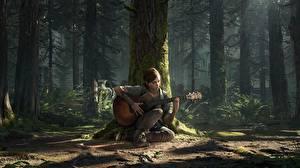 Фотография The Last of Us 2 Ствол дерева Гитары Сидящие Ellie
