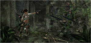 Фотографии Tomb Raider Tomb Raider Anniversary Пистолет Лара Крофт Мечи Бег 3D_Графика Девушки