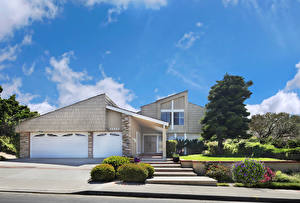 Картинка Штаты Здания Калифорнии Особняк Дизайна Гараже Лестницы Кустов Dana Point город
