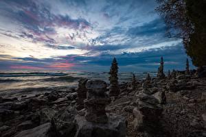 Обои Америка Озеро Берег Камни Whitefish Bay, Lake Michigan