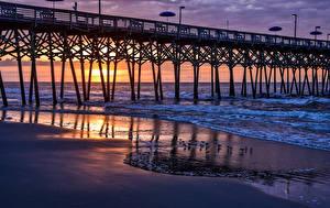 Обои Штаты Рассвет и закат Берег Волны Мост Птица Калифорнии Garden City Beach