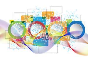 Фотографии Векторная графика Разноцветные Белом фоне Окружность