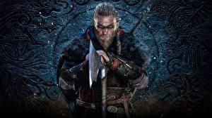 Картинка Воители Мужчина Assassin's Creed Викинг С топором Бородатые Valhalla Игры
