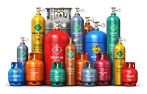 Фотография Белом фоне Разноцветные different gases, gas cylinder
