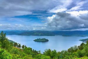 Картинка Африка Озеро Остров Небо Облака Деревья Rwanda, Lake Burera, Ruhengeri, Mudimba Island