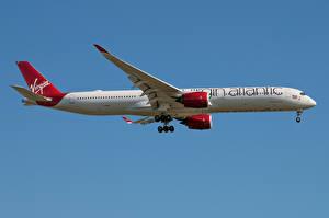 Фотографии Эйрбас Самолеты Пассажирские Самолеты Сбоку A350-1000, Virgin Atlantic Авиация