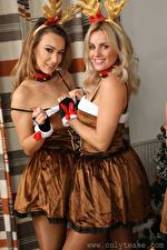 Обои Amy Green Lauren Louise Две Блондинки Русая Взгляд Улыбка Униформе Девушки