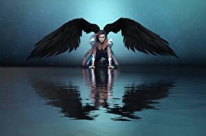 Фотографии Ангелы Вода Крылья Отражении Девушки 3D_Графика