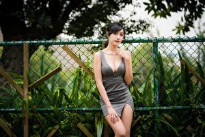 Картинки Азиатки Брюнетка Платья Рука Декольте Смотрят