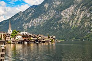 Обои для рабочего стола Австрия Озеро Гора Халльштатт Здания Берег Bad Goisern, Gmunden County Города