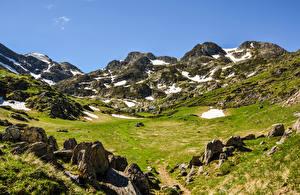 Обои Австрия Горы Камень Луга Альпы Снега Природа