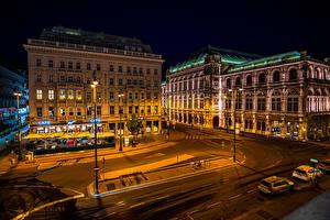 Картинки Австрия Вена Дома Улиц Ночью Уличные фонари Города