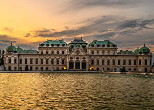 Фотографии Австрия Вена Пруд Рассвет и закат Дворец Belvedere Города