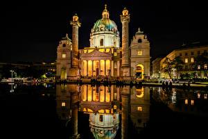 Фотографии Австрия Вена Храмы Церковь Пруд Отражение Ночь Karlskirche Города