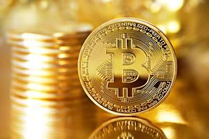 Фотография Bitcoin Монеты Золотые